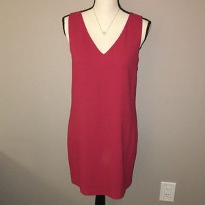 NWT Theory Cranberry Red V-Neck S/L Shift Dress